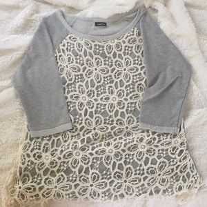 Rue21 gray and lace sweater